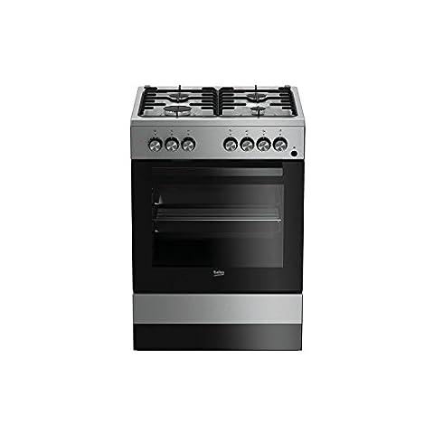 Beko CSE 62110DX–Cuisinière (autonome, gaz, acier inoxydable, a, noir, acier inoxydable, rotatif)