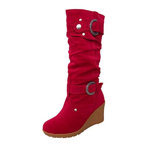 Julywe Damen Leder Winter Stiefel Comfort Boots Schuhe Schwarz Blau Stiefeletten gefüttert Flache Wedges Stiefel Plateau Langschaftstiefel Rutschfest Hohe Schlauchstiefel