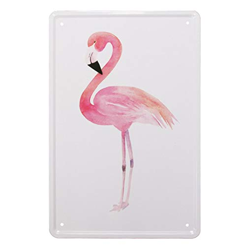 Lumanuby. 1pc Moderno Metal Pintura Cafe Publicidad Decoración Metal Wall Art Sign Decoración Lata Póster para el Bar Pub/Cafe / Home Flamingo Diseño 20 x 30 cm