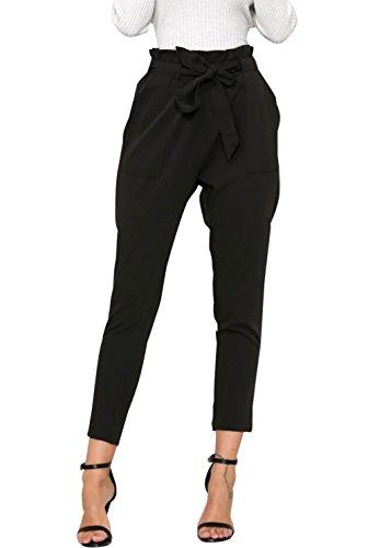 ASKSA Damen Hosen Elegant Hoher Bund Falten Chiffon Stretch Pants Skinny Hosen Streetwear Hose mit Tunnelzug (Schwarz, X-Large)