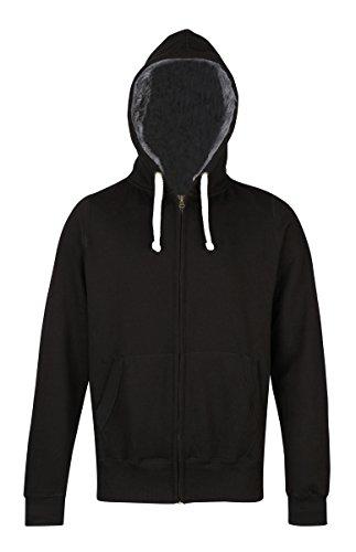 Fur-lined chunky zoodie AWDis Hoods Streetwear Felpa Cappuccio Uomo Jet Black