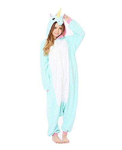 Kischers Halloween-Kostüme Adult Pyjama Overall Jumpsuit Lang Einteiler Flanell Schlafanzug für Damen Herren (L HöheGröße(168-178CM), Einhorn Blau 2)