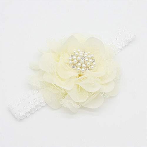Weißes Athletisches Band (Shunbao, Kinder Spitze Perle große Blume Stirnband breites Band Haarband neugeborenen Blumen Kopf Wickeln elastisches Haarband zubehör (Color : 3))