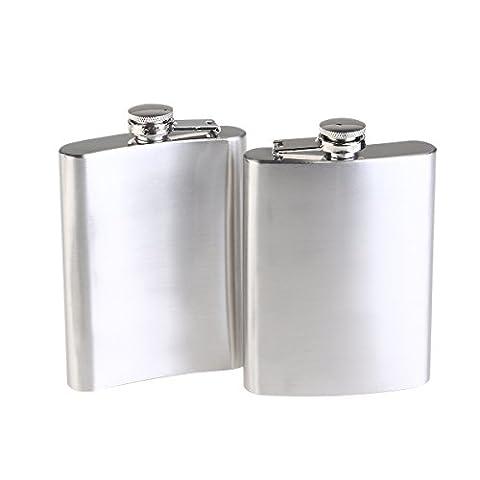 NUOLUX Flasque Hip Flask en Acier Inoxydable 200ml Pack de 2