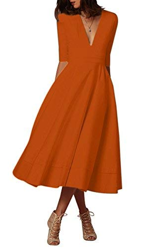 Kleid Freizeitkleider Langarm Partykleider Tief V Ausschnitt Formalkleid,Orange,L,DE 40 42 ()