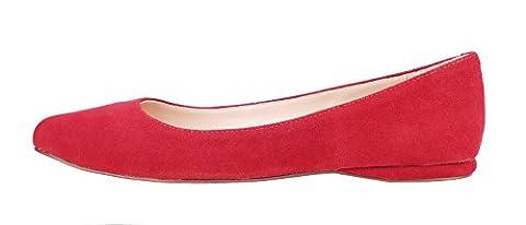 Verocara Women's Genuine Suede Pointed Toe Comfortable Ballet Flats Red Suede 9 UK