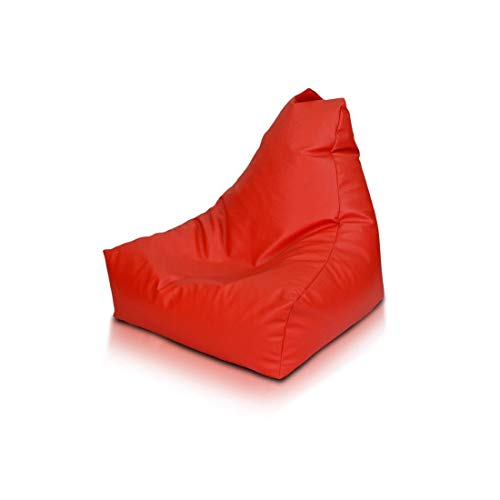 Ecopuf keiko s - pouf poltrona sacco in ecopelle con maniglia e cerniera antiperdita (rosso e6)