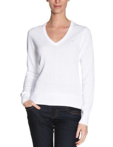 GANT Damen Pullover LT WT COTTON V-NECK 483022 Weiß (WHITE)