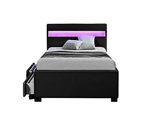 Exclusive Harmin Designer Music Bed, Bluetooth, Speakers, LED Colour Changing Faux Leather Bed Frame with Remote for LEDs (Single 3ft,