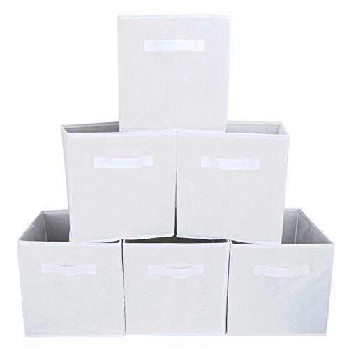 faltboxen stoff EZOWare 6er-Pack Aufbewahrungsbox Faltbare Aufbewahrungskiste faltbox und weichem Stoff in Würfelform - Weiß
