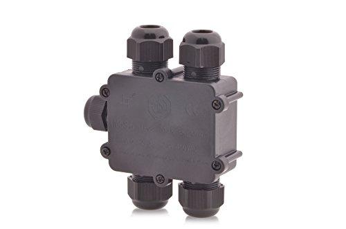 Verteilerdose wasserdicht 24A 450V AC Dosenmuffe Kabelverbinder IP68 Erdkabel 5-polig, fünf Öffnungen 4m Wassertiefe geprüft VDE & CE (Junction Box)