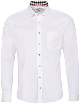 Almsach Trachtenhemd Felix Slim Fit Mehrfarbig in Weiß, Rot und Tanne Inklusive Volksfestfinder