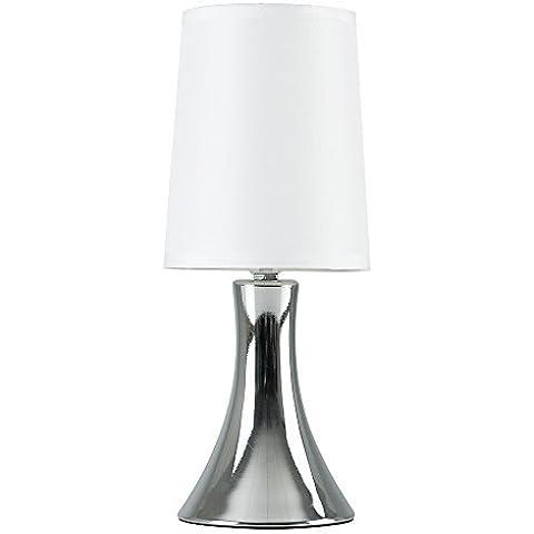 MiniSun – Moderna lámpara de mesa táctil cromada con pantalla de tela blanca