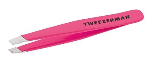Tweezerman Mini Slant Tweezer kleine Pinzette, mit abgeschrägter Spitze aus rostfreiem Edelstahl, pretty in pink