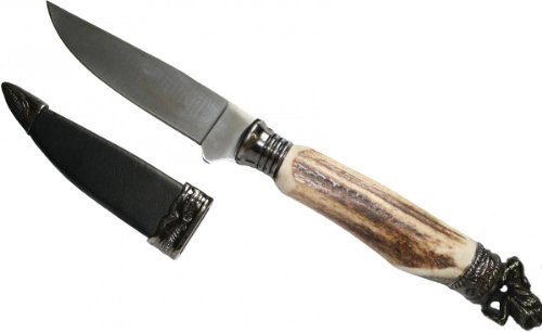 Trachtenmesser handgeschmiedet messer Hirschhorn horngriff Löwen-figur