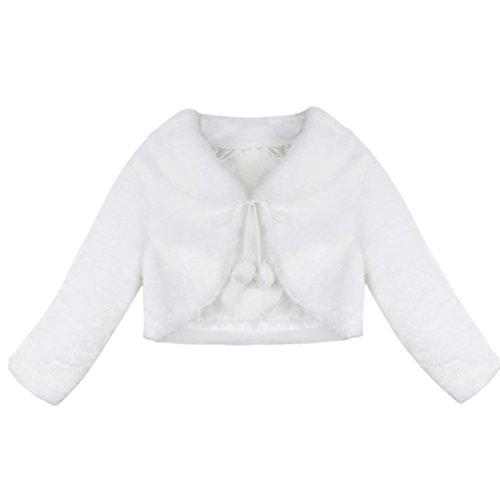 Baby Mantel Elfenbein (Tiaobug Kinder Mädchen Pelz Bolero Langarm Schulterjacke Strick Jacke Winter Mantel Weste Jacke Shirt Top Bolero, Elfenbein, 80/86)