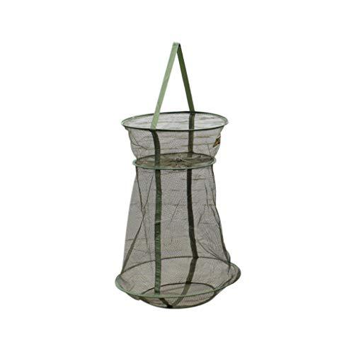 Zerama Mesh-Fischnetz-Garnele Cage Folding Netzs 3 Ebenen Quick-Dry zusammenklappbarer Fischfalle Elritze Cast Net -