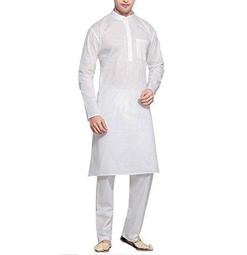 Royal Men's Cotton Kurta Pyjama Set (ROYAL_232_White _Large)
