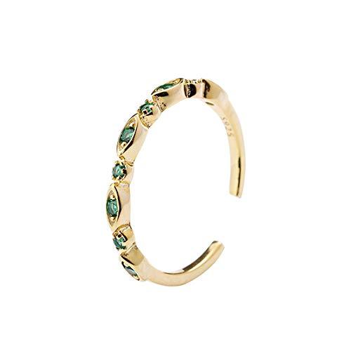 LOUMVE Damen Ringe S925 Sterling Silber Midi Ring Krone mit Grün Fingerring Band Gold Verstellbare mit Green Zirkonia für Frauen (Sterling Silber Krone Ring Midi)