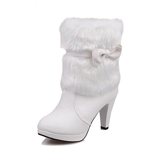 VogueZone009 Donna Tirare Tacco Alto Puro Bassa Altezza Stivali con Cappio Bianco
