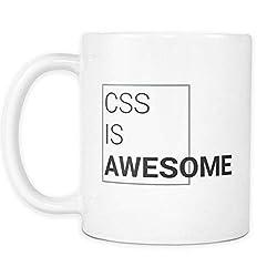 XSNJ Coffee Mug CSS is Awesome Programmer Web Developer HTML Ceramic Tea Cup for Christmas 11 oz