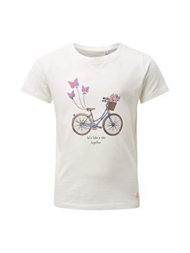 TOM TAILOR Kids Mädchen Placed Print T-Shirt, Weiß (Cloud Dancer 1610), 128 (Herstellergröße: 128/134) - Dancer Kinder-t-shirt
