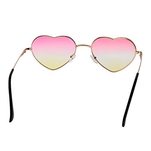 (Prettyia Herz Form Dame Brille mit Farbverlauf Linse Augen Schutzbrille- Farben Auswählen - Rosa Gelb)