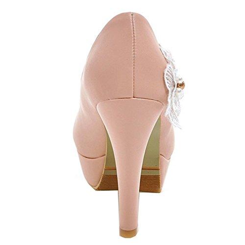 e584a5f761bd7c YE Damen Geschlossen Stiletto High Heel Plateau Pumps mit Blumen Perlen  Strass Braut Schuhe für Hochzeit ...