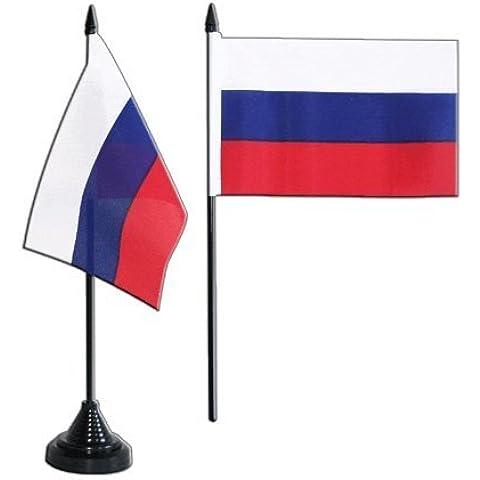 Digni - Bandera de mesa 10 x 15, poliéster, con base de plástico de color negro, diseño de la bandera de Rusia