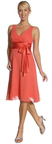 Abendkleider kurz Chiffon Cocktailkleid knielang elegant festliche Damen Mode Brautmutterkleider für Hochzeit Brautjungfernkleid koralle Korallen-heels Und Pumps