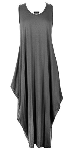 Ladies Womens Italian Lagenlook Quirky Sleeveless Racer Back Plain Viscose Tulip Maxi Dress One Size (One Size, Dark Grey) (Racer Back Silk)