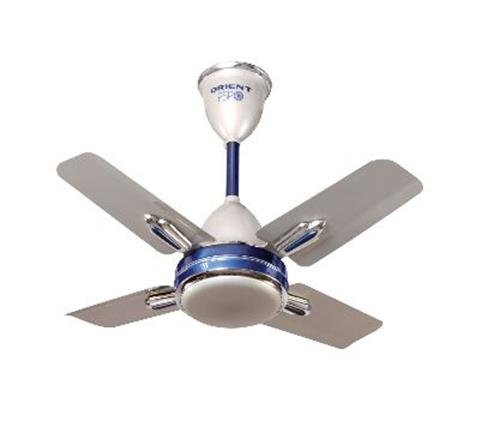 Orient Quasar Ornamental 600 mm 24-inch 70-Watt Premium Ceiling Fan (Silver and Blue)