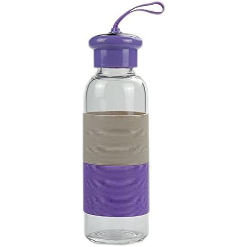 Botella beber agua de cristal de vidrio caldera del agua portable de cristal taza de agua para actividades al aire libre de interior (Púrpura)