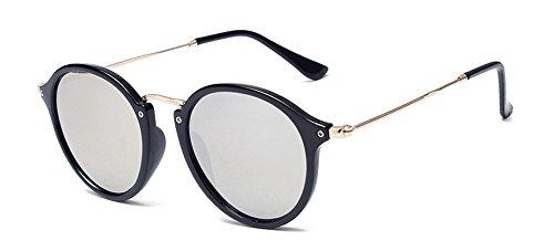 Outray Vintage Klassiker Sonnenbrille,Retro Rund Sunglass bunte Sonnenbrillen,Polycarbonatlinse Brille, Silber