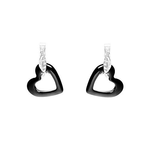 Image of Stella Maris Women's Earrings - Heart-shaped - 925 Sterling Silver and Premium Black Ceramic - Diamond - 1.5 cm