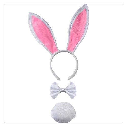 Z-one 1 3 Set Kaninchen Bunny Cosplay Kostüm Kit - Fancy Dress Kaninchen Ohren Stirnband Fliege Plüsch Schwanz Party - Weiß (Bunny Halloween-kostüm Diy)