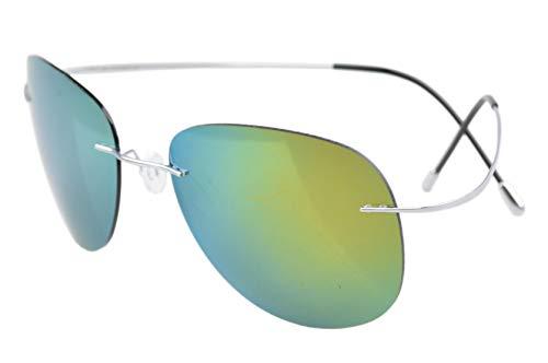 Eyekepper Randlos Titan Rahmen polarisierten Sonnenbrillen Silver/Gold Spiegel