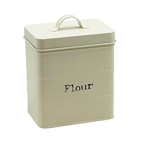 Mehldose für die Küche - aus Metall - 160 x 105 x 180 mm - Cremefarben