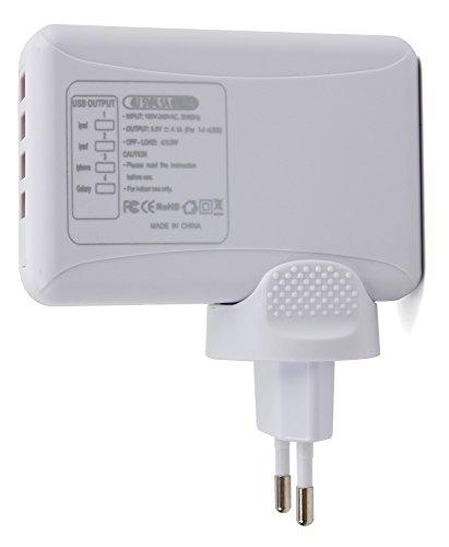 DURAGADGET Vierfaches USB-Ladegerät für Europa zum Aufladen für Yuanguo YG3 Plus Aktivitätstracker, Lintelek, Chereeki Fitness-Armband und Wesoo Activity-Tracker