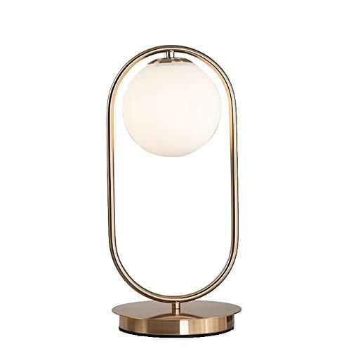 Zeitgenössische Oval Glas (Tischleuchte Gold Modern Tischlampe Schlafzimmer Leuchte,Metall Rahmen Und Lampenfuß Aus Marmor Schreibtischlampe,Weiß Glas Kugel Studiezimmer Wohnzimmer Büro Dekoleuchten,E14)