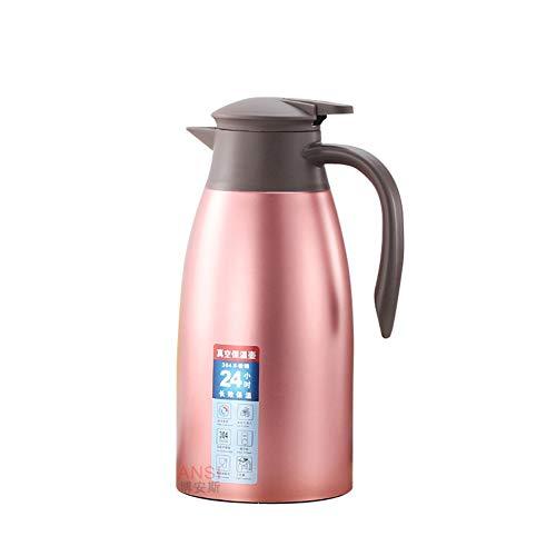 GUOCU Isolierkanne Edelstahl Quick Tip Verschluss Kaffee Thermos Kaffee Plunger Soft Grip,Rose,2 L(24 Hours Insulation) -