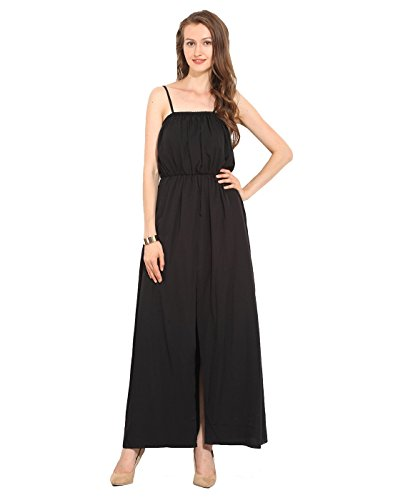 Black Polyester Maxi Dress Large  available at amazon for Rs.250