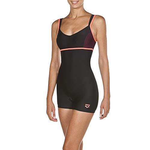 ARES5 Arena Damen Badeanzug Venus mit langem Bein, Black-Red Wine-Shiny pink, 44