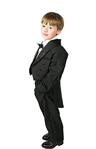 Lito Angels Boys' 5 Pcs Set Formal Tuxedo Suit With Tail Formal Occasion Outfit Pageboy Suits Size 8 Years Black