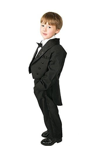 Lito Angels Jungen 5 Stück set Formale Tuxedo Anzug mit schwanz Formale Anlass outfit Page Boy Anzug Gr. 5 Jahre Schwarz - Formale Hochzeits-schwarzen Tuxedo-anzug