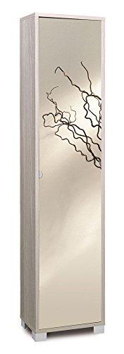 SARMOG SPA Säule in Laminat von Farbe Ulme mit Spiegeltür, Säule mit Füße Chrom Satiniert, Säule mit Ausstattung von 4Fachböden, Spalte Aufbewahrungsbox von Abmessungen 29x 43x 190cm Ulme Laminat