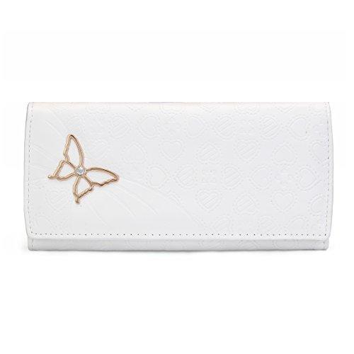 OURBAG Damen Süß Schmetterling Geldbeutel Leder Rot Weiß Schwarz Rosa Geldbörse Portemonnaiemit Druckknopf Weiß