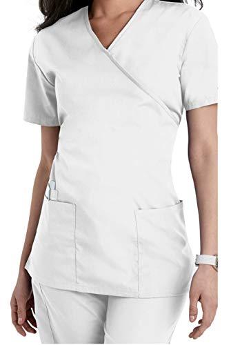 Smart Uniform 1224 Mock Wrap Top (M, Weiß [White] 1)