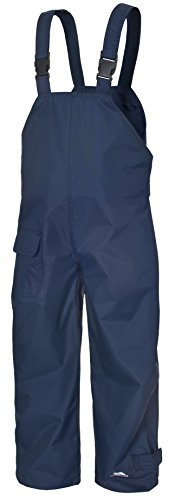 TRESPASS KIDS WATERPROOF DUNGAREES RAIN OVER TROUSERS (11-12 Years, Navy)