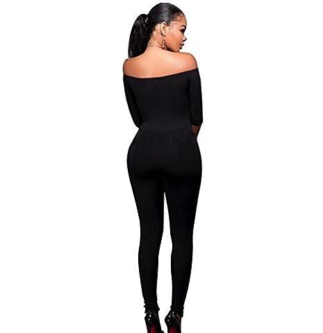 Byjia Combinaison Moulante Taille Haute Des Femmes Exposés Épaule Manches Longues Club Night Party Pants . Black . S
